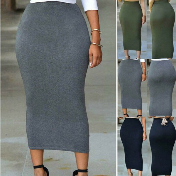 womens skirt 2019 autumn fashion new plain jersey bodycon tube straight high waisted skirt ladies casual stretch midi hot, Black