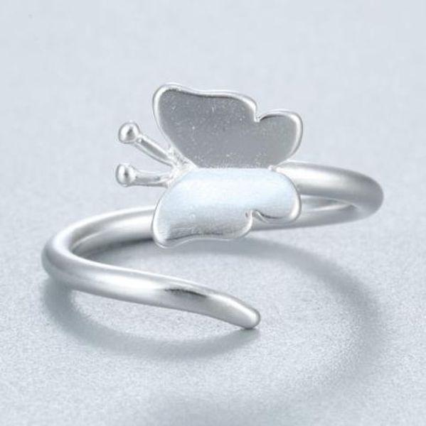 Серебро животных Бабочка Кольцо для женщин Заявления ювелирных изделий Регулируемого кольца