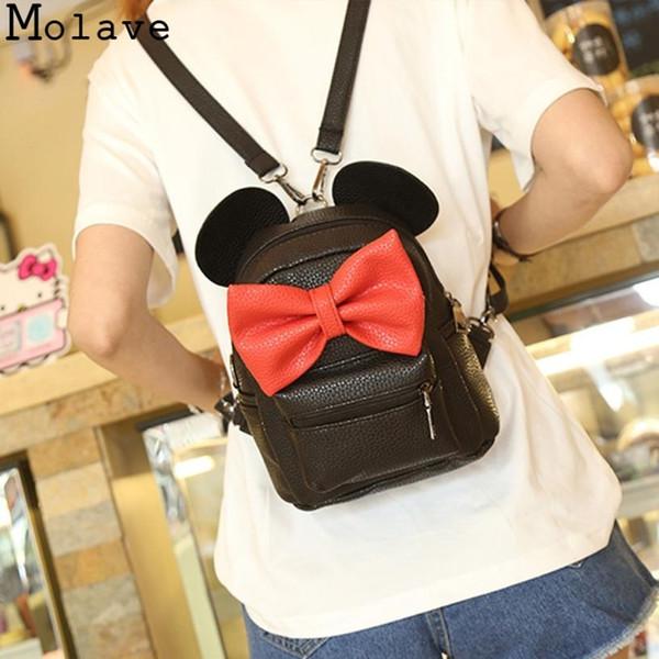 MOLAVE 2018 New Mickey Backpack Pu Leather Female Mini Bag Sweet Bow Teen Girls Backpacks School Bag Lady Shoulder 18.sep.30 #140004