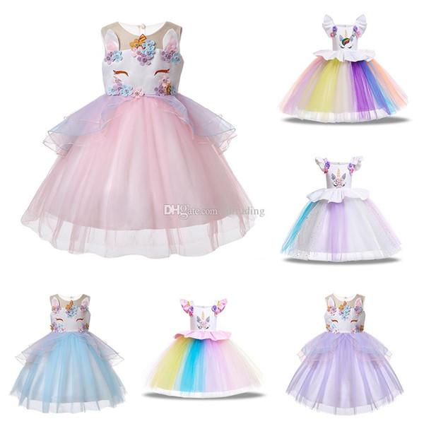 Bébé filles Licorne robe enfants TUTU dentelle dentelle Tulle princesse robes de bande dessinée 2019 été Boutique Enfants Vêtements 6 couleurs C4022