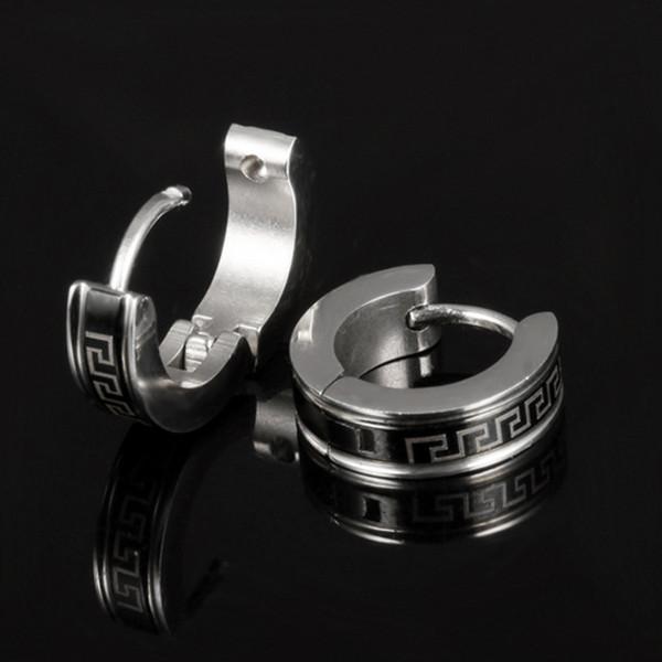 Men Earrings Hot Sell Jewelry 316L Stainless Steel Stud Earring Greek Key High Quality Wholesale