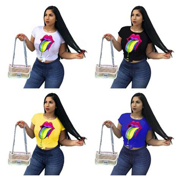 Big Lips Womens Designer T shirts Colorful Eye Painting Casual T-shirt Candy Color Sweatshirt Fashion Tops Tee Sweat Shirt Clothing C5603