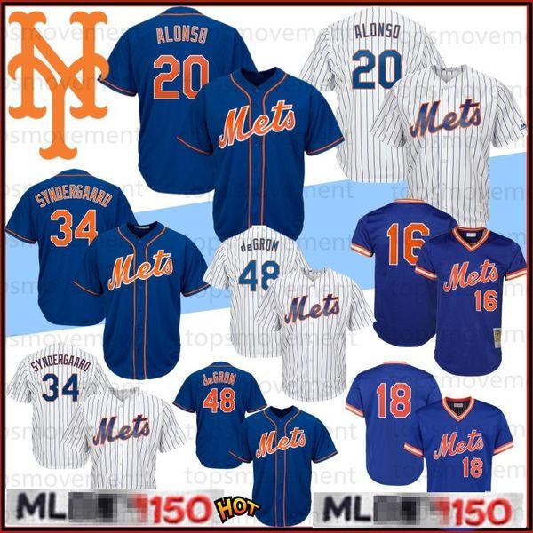 20 Pete Alonso Baseball Chandails 48 Jacob deGrom # 18 Darryl Strawberry New Jersey York 150e Mets 16 Gooden 34 17 Noah Hernandez 2020