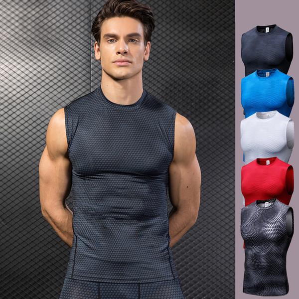 Высокие эластичные мужские компрессионные колготки Gym Vest Top Quick Dry спортивная рубашка без рукавов Mens Vest Sport Tee Cool Running Sports