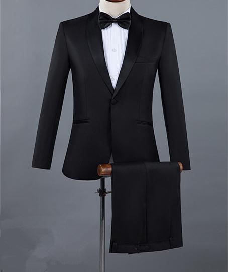 Cheap and Fine Scial risvolto Groomsmen One Button Smoking dello sposo Abiti da uomo Matrimonio / Ballo / Cena Best Man Blazer (Jacket + Pants + Tie) 026
