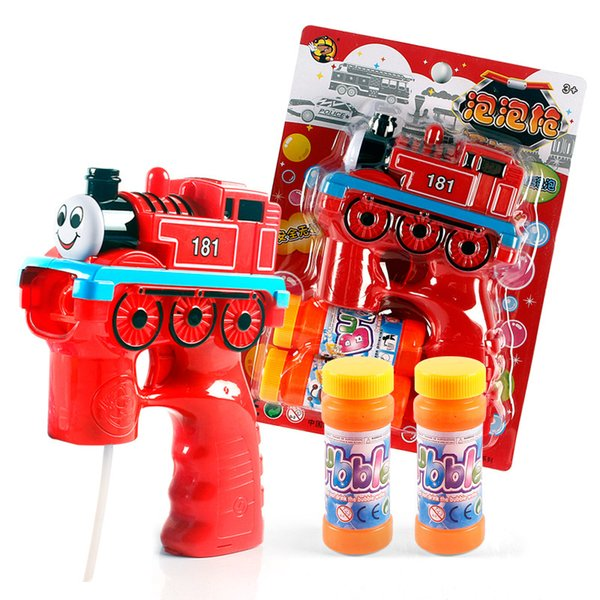 Cartoon Bubble Guns With Bubble Liquid Train Police Car Fire Truck Dolphin Sea Boat Red Monkey Lovely Automatic Bubble Gun Music Led Outdoor