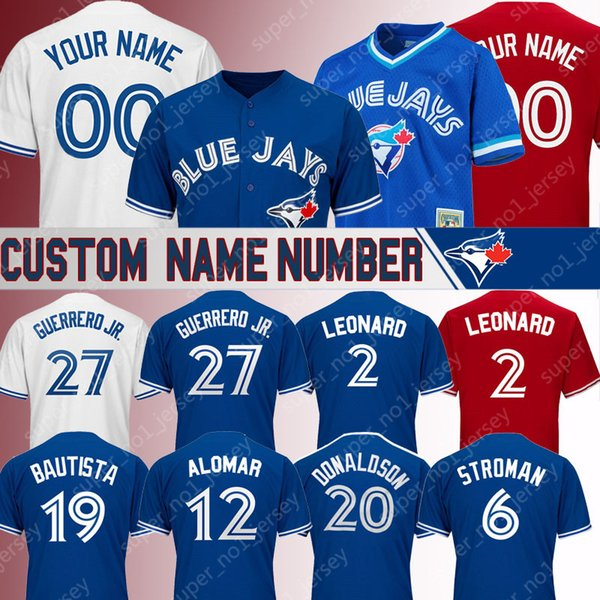 Toronto camisetas personalizadas Blue Jays vladimir guerrero jersey 2 leonard Roberto Alomar jerseys Josh Donaldson Joe Carter Marcus Stroman jersey