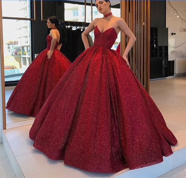Red Prom Dresses With Petticoat Sweetheart Floor Length Glitter Custom Made  Ball Gown Evening Gowns Plus Size Formal Dress Prom Dress Stores In ...