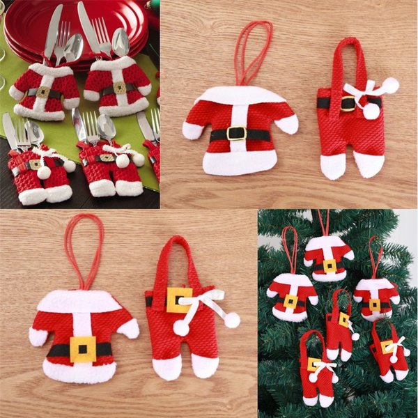 Noel Çatal Seti Noel Baba Giysileri Pantolon Bıçak ve Çatal Tutucu Noel Çatal Çanta Noel Masaüstü Dekorasyon