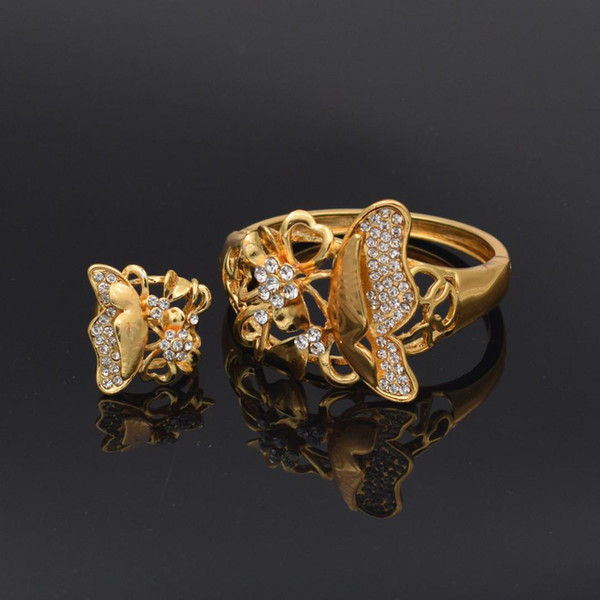 Classic Jewelry Gold Copper Crystal Rhinestone Big Bracelets Flower Jewelry sets For Women Bangle With Ring Geometry
