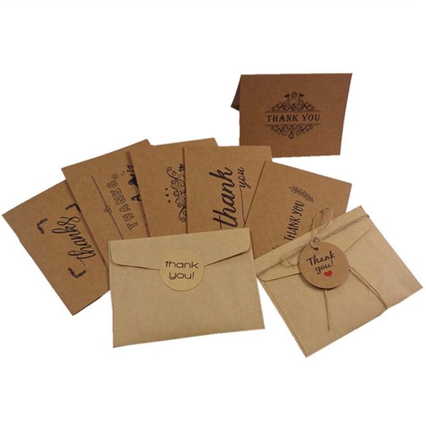 7 Style de blanc Vous Cartes papier remerciement Enveloppes Carte de voeux de mariage de Noël Tankgiving Day Party Artisanat d'accueil