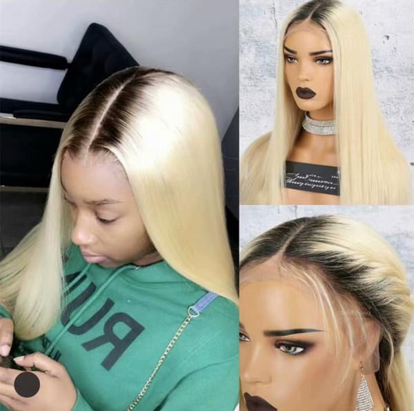 Parrucca bionda piena del merletto dei capelli umani di 100% Ombre Colour 1B 613 Parrucca anteriore serica serica dei capelli di doppio tono Radice scura con i capelli del bambino