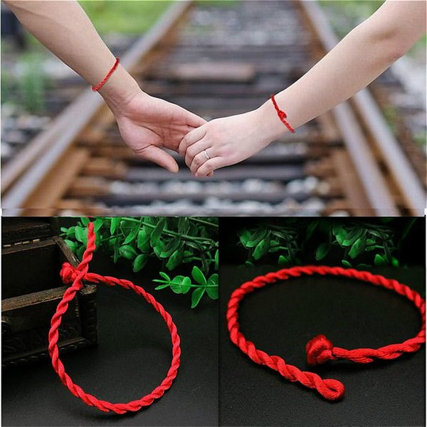 1 PCS Fashion Red Line Lucky Red Handmade Rope Charm Bracelets for Women Men Jewelry Lover Couple