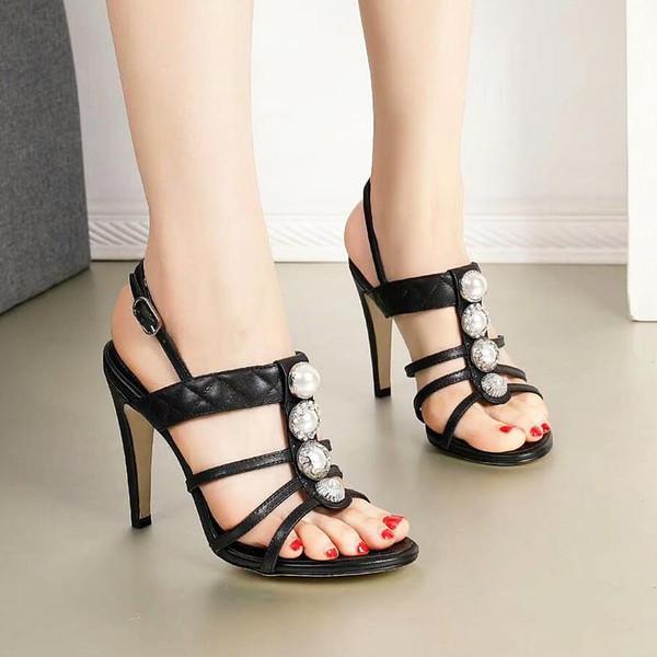 diseño de alta calidad superior zapatos de boda de las nuevas mujeres de cuero sandalias de tacón banquete vestido atractivo con la caja de zapatillas qo