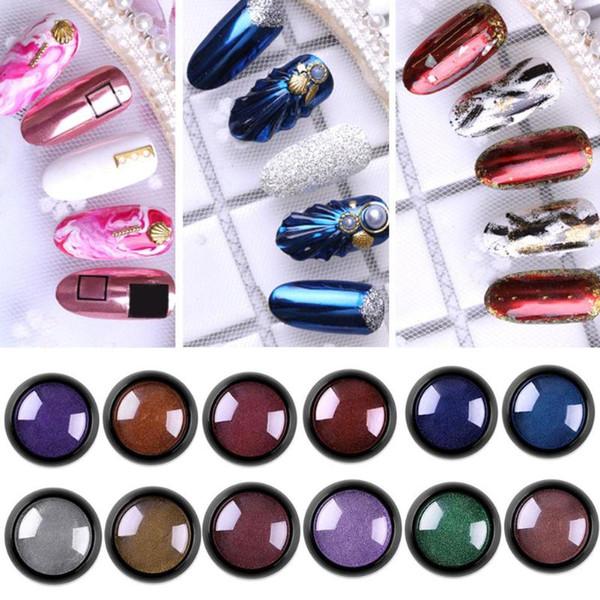 1 scatola di specchio per unghie glitter metallico a colori per unghie UV gel lucidatura design per strumenti di decorazioni d'arte