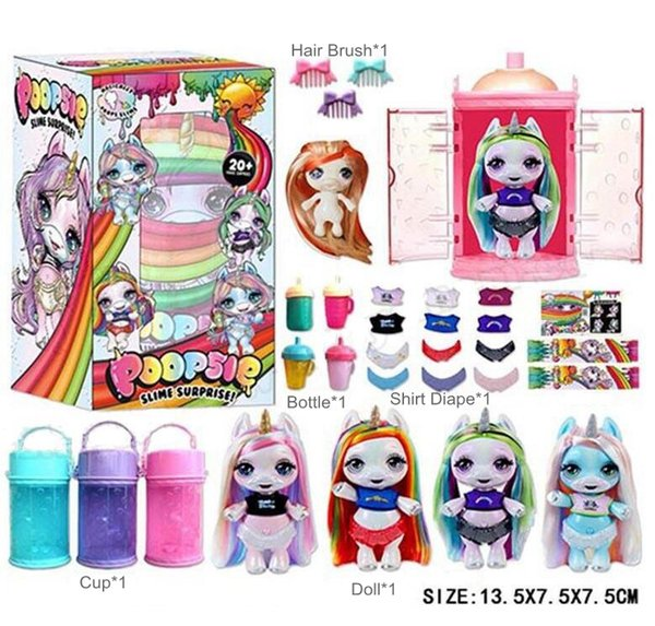 Surprise Unicorn Dolls with Hair Brush Bottle Cup Shirt Diaper PVC Kawaii Action Figures Dolls for Girls Cartoons kids toys 360pcs/lot 13cm