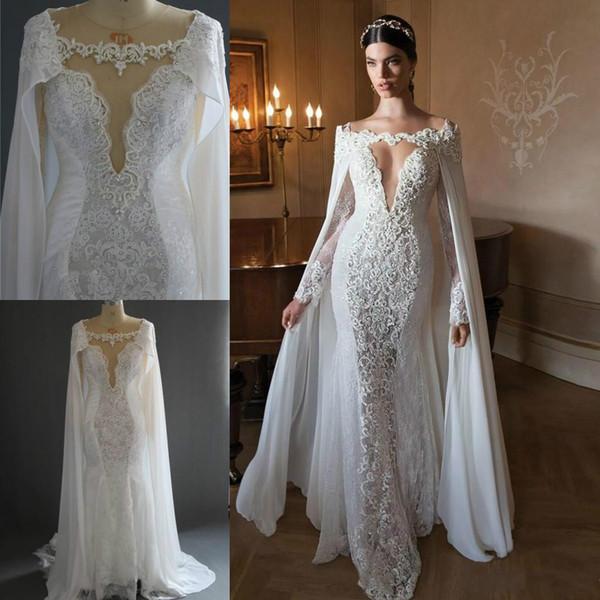 Ретро кружева с длинными рукавами свадебные платья с накидками 2018 сексуальная иллюзия русалка развертки поезд свадебные платья изображения свадебные платья