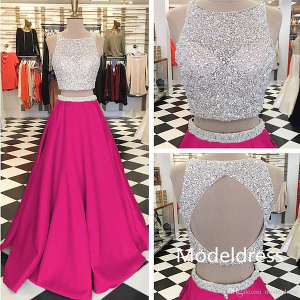 New Stunning Two Pieces Prom Dresses Jewel Beading Backless Long Mint Fuchsia Evening Party Pageant Gowns Cheap Custom Made