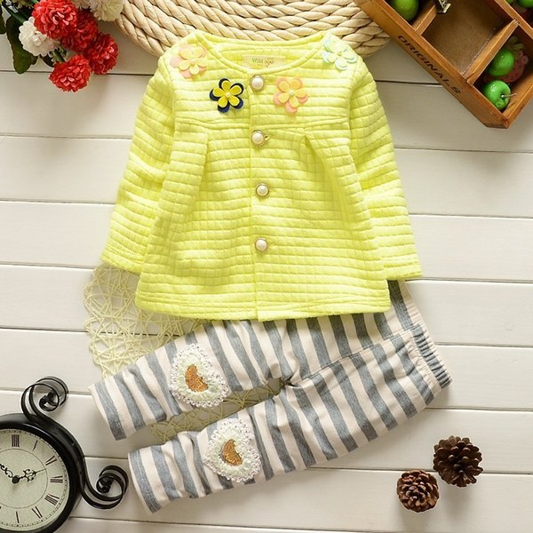 quality New baby autumn clothes for the baby cute cartoon Pattern T-shirt + trousers cotton clothing,fashion Baby Girl Suit