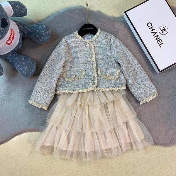 Gilet de filles ensembles vêtements de marque enfants veste en tissu composite + x2 jupe gâteau doublure automne de coton doux vent jupe ensembles