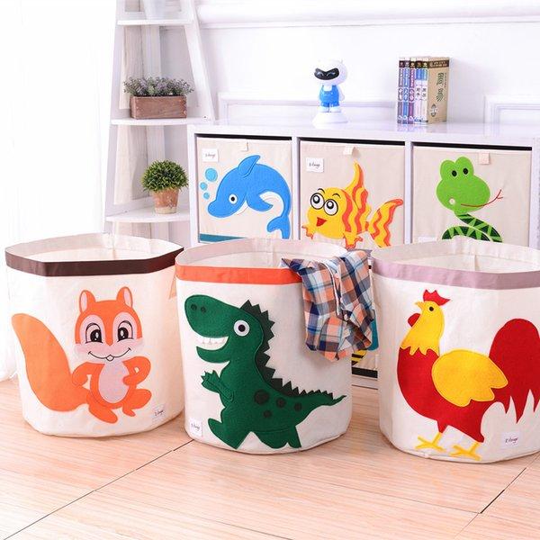 new Cartoon Folding Canvas storage basket clothing organizers kid toys storage box Laundry large storage basket