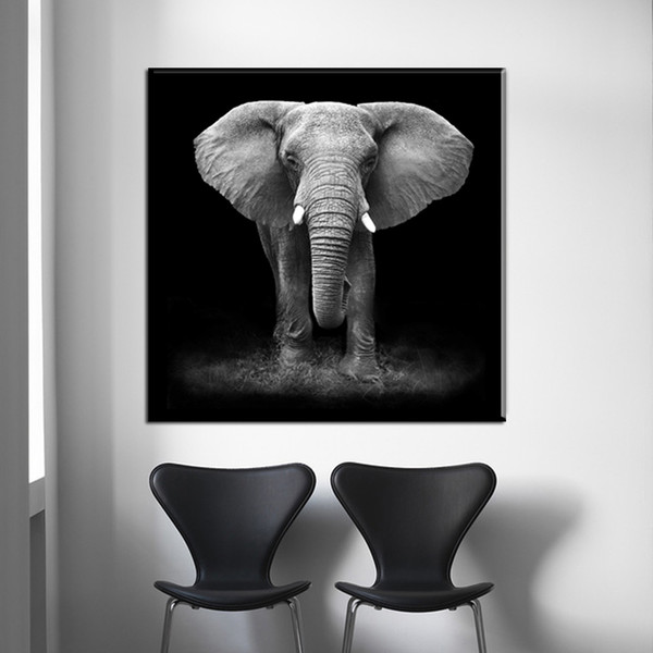 1 Piece Modular Canvas Paintings Home Decor HD Prints Abstract Animal Black and white Africa Elephant Poster Living Room No Framed