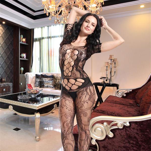 Mujeres Body Stocking High Elasticity Sexy Open Crotch Net Body Hot Lingerie Jumpsuit Lencería sexy Body Bodystocking nave de la gota
