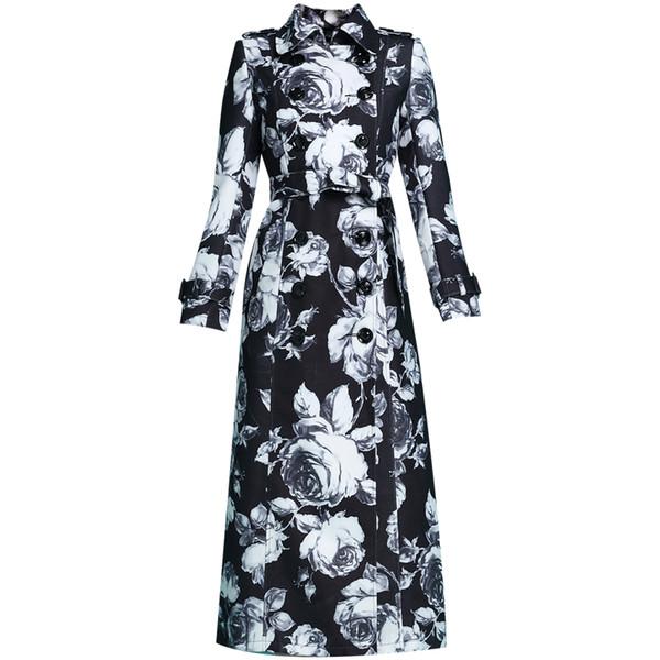 2019 Nova Primavera Outono das Mulheres Lapela Ultra Longo Double-breasted Trench Coat Feminino Vintage Impresso Preto-e-branco Maxi Casaco