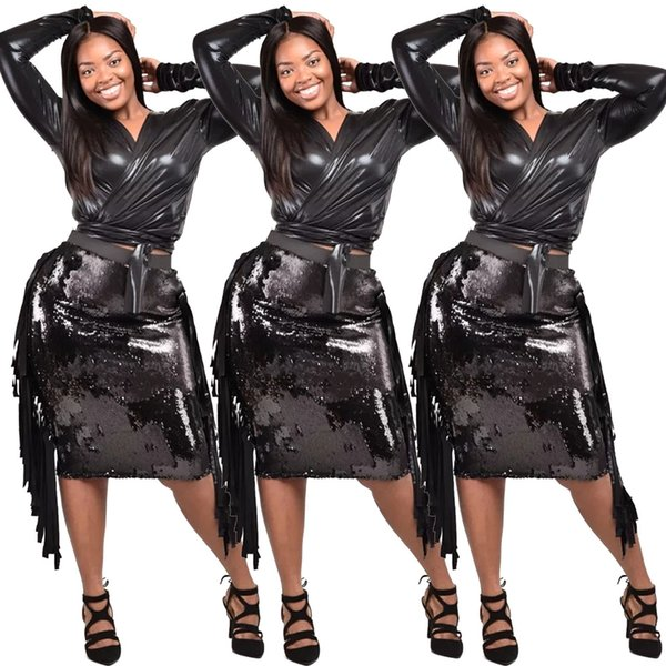 2019 Latest Fashion Black PU Top and Sequins Skirt Sets Two Pieces V Neck Long Sleeves Long Taasek knee Length Sexy Night Out Club Dress