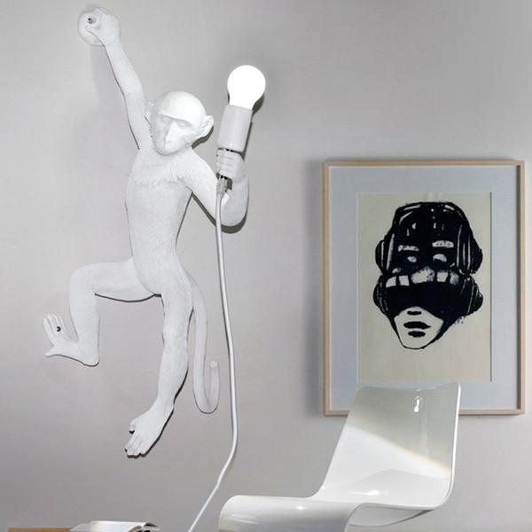 Modern Black White Gold Monkey Wall Lamps Fashion Simple Art Nordic Replicas Resin Seletti Hanging Monkey Lamp