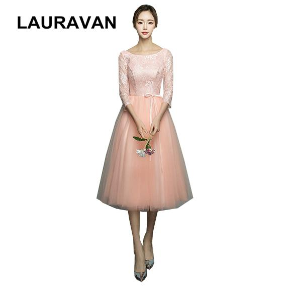 modest lace princess adult bridesmaid dresses teens in pink peach girls dress with lace half sleeves for bridemaide ball