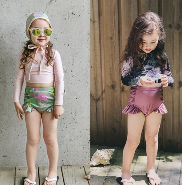 Kids swimsuits girls lace-up Bows long sleeve swimwear+flamingos printed falbala trunks+cartoon hat 3pcs sets child rash guard shirts F6430
