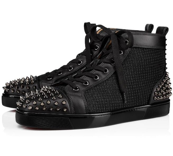 YENİ 2020 Tasarımcı Sneakers Kırmızı Alt ayakkabı Çivili başak Lüks Erkekler Kadınlar Ayakkabı Parti Düğün kristal Deri Spor ayakkabılar Casual Ayakkabı C-1 yassı