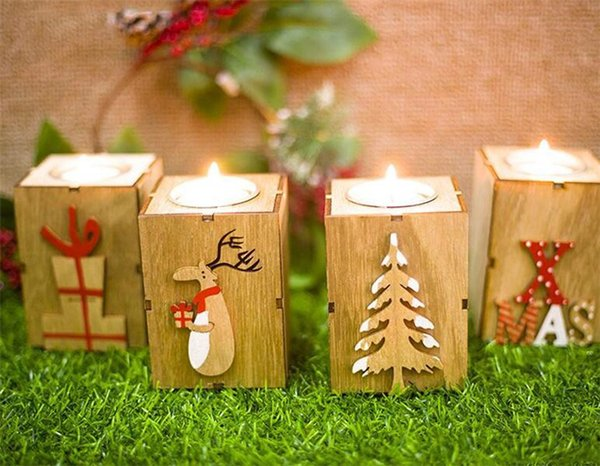 2018 New Home Festive Christmas Wood Candle Holder Candlestick Table Lamp For Tea Light Decoration