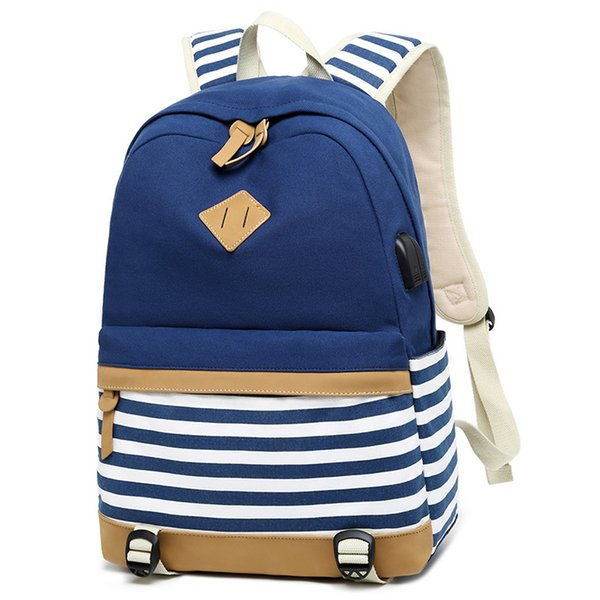 Canvas Backpack Women Fashion Print Backpack Middle School Bag Navy Style Striped Summer College Style