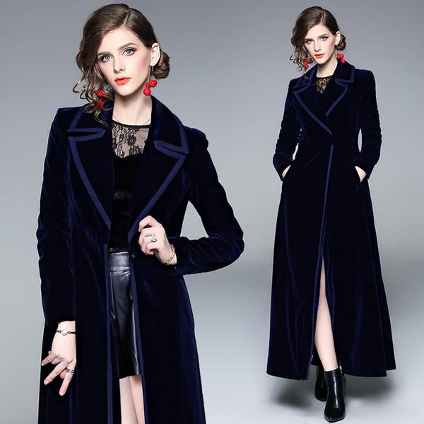 4fa71abaab08 Europe and the United States real shot spot velvet trench coat blue long  skirt jacket 9002