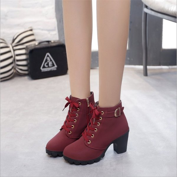 Großhandel Herbst Winter Frauen Stiefel Hohe Qualität Feste Lace Up Europäische Damen Schuhe PU Mode High Heels Stiefel H 077 Von Kaochange, $73.9 Auf
