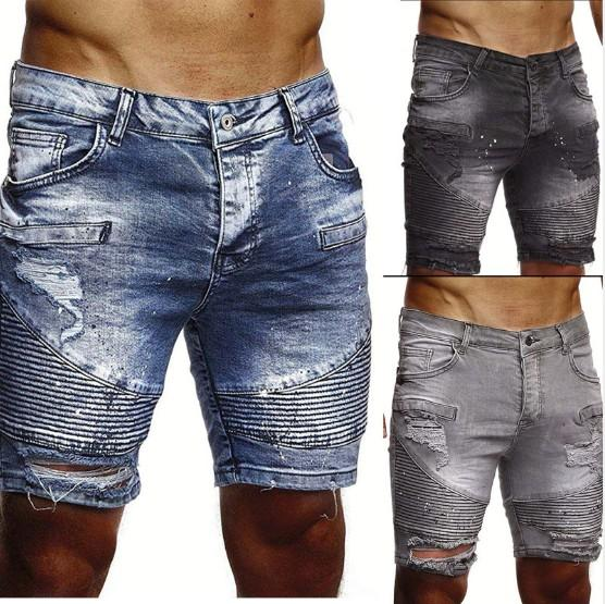 Mens Denim Shorts Destroyed Mens Denim Straight Biker Jeans Ripped with 3 Colors Asian Size S-2XL Free Shipping