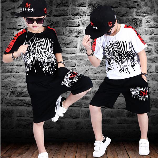 Спортивные костюмы подростковые летние комплекты одежды для мальчиков с коротким рукавом футболки брюки повседневные 4 5 6 7 8 9 10 12 14 лет ребенок мальчик одежда J190513