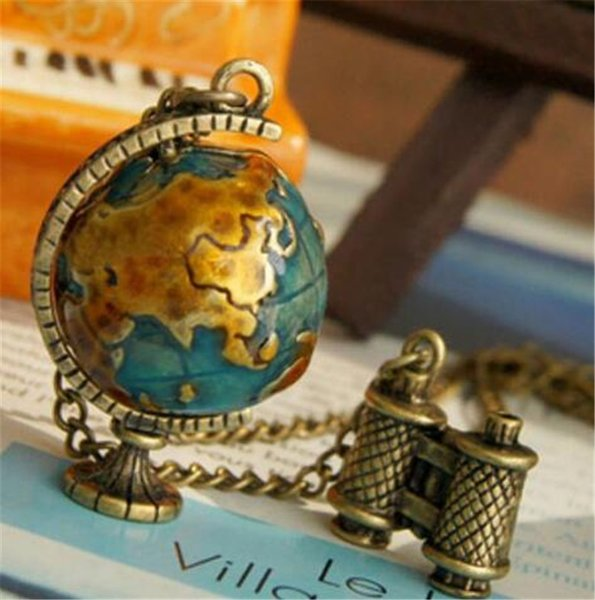 New Fashion Vintage Telescope Travel Globe Pendant Earth Long Chain Necklace Tellurion Enamel Women Sweater Chain