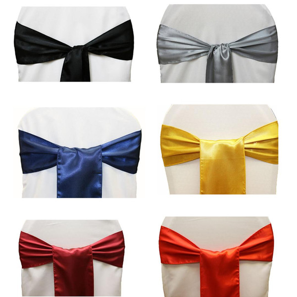 50pcs 15x 275cm Satin Chair Sashes Bands Bow Ties Butterfly Cover For Wedding Decoration Home Textile Hotel Banquet Chair Decor