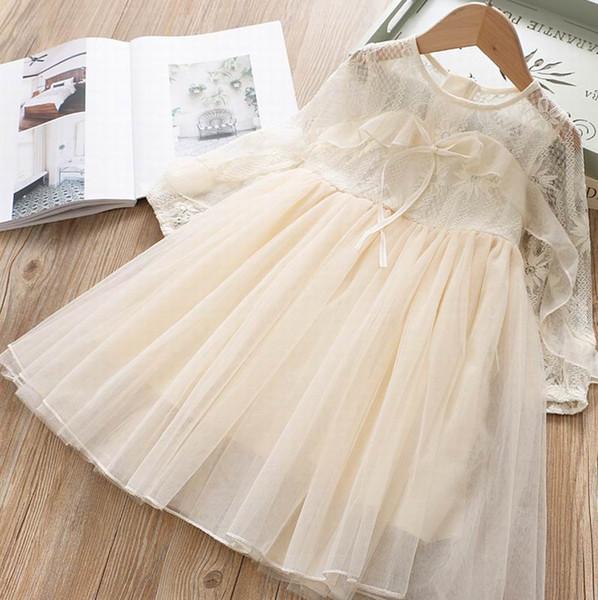 Commercio all'ingrosso pizzo Girl Dress 2020 New Spring legame di arco di Tulle a manica lunga della principessa Dress Kids Clothes 2-6 Y E2019