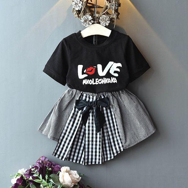 1cb67887ea426 Sweet Girls Outfits 2019 Summer new Fashion Kids Sets Love T shirt+Skirts  Girls Dress