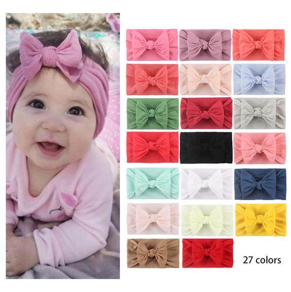 best selling Baby Turban Bebe Headbands Baby Girls Hairbands Bow Knot Headband Soft Fashion Headwraps Nylon Hair Accessories