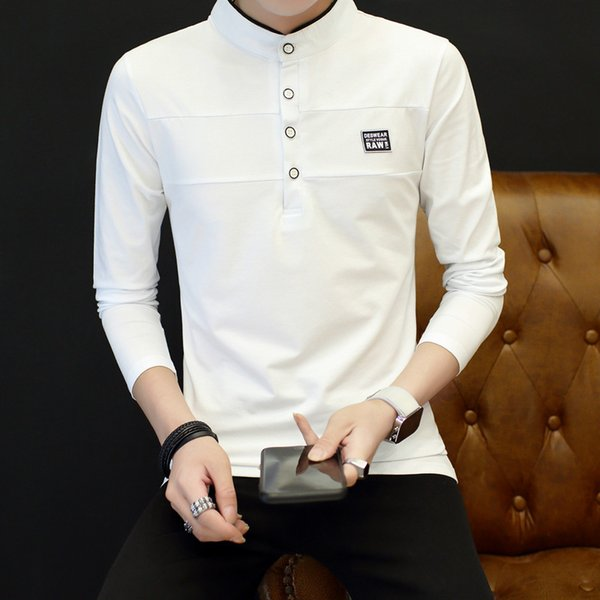 Fashion Autumn Dress Chinese Style Pure Color Sport Solid Cotton T-shirt Long Sleeves Men Casual Full Stand Solid Worsted Tops