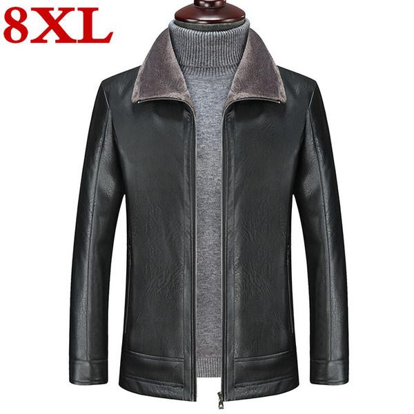 Büyük beden 8XL 7XL 6XL Erkekler Koyun derisi Ceket Polar Motosiklet Bombacı Siyah Deri Mont Erkek Dış Giyim Kış Ceket Keep sıcak