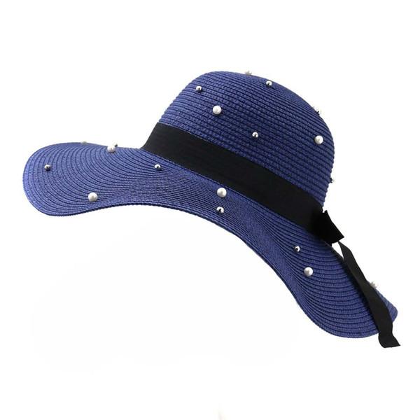 Mode Frauen Mädchen Floppy Hut Breite Große Krempe Sommer Damen Strand Stroh Sonnenhüte Faux Perle Verzieren Falten Sunhat Sunbonnet