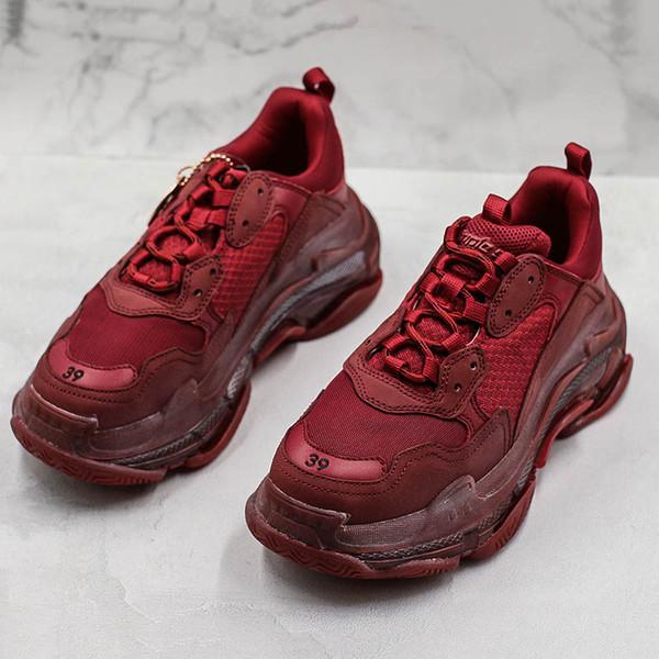 2019 Luxe Triple S Paris Wine Red Pebble Casual Shoes Clunky Shoes Triple-S Low Mens Woman Casual Designer ShoesL26