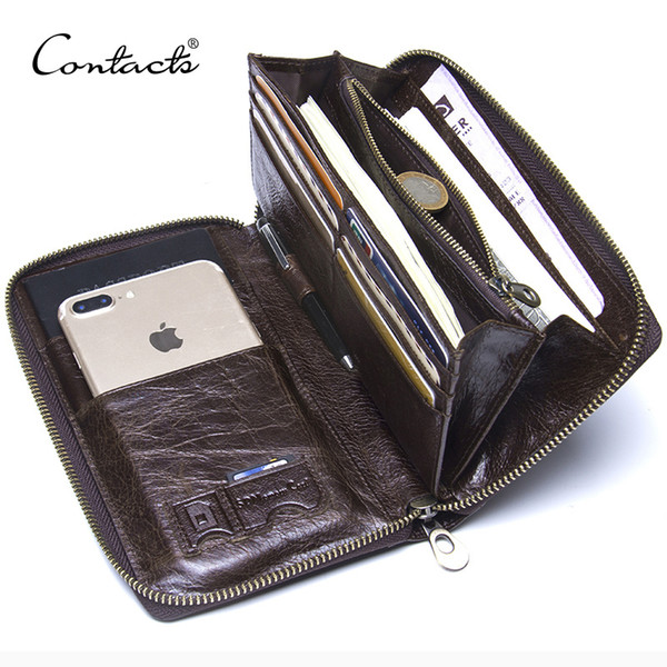 "Genuine Leather Men Clutch Wallet Brand Male Card Holder Long Zipper Around Travel Purse With Passport Holder 6.5"" Phone Case Y19052801"
