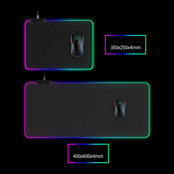 best selling LED light Mouse pad 300*800*4mm computer thickening RGB game competitive keyboard desktop mouse pad 5 size dhl free